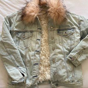 AE furry denim jacket/coat